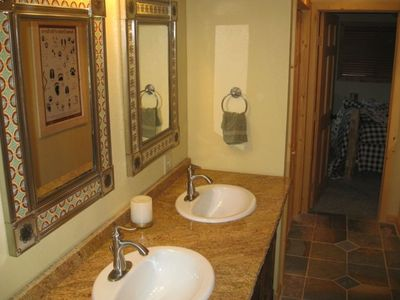 Upstairs Bathroom with Shower, Double Sink, Tile Floors, Granite Countertops