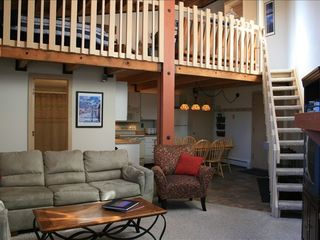 Silverthorne condo photo - living room and stairs to loft .