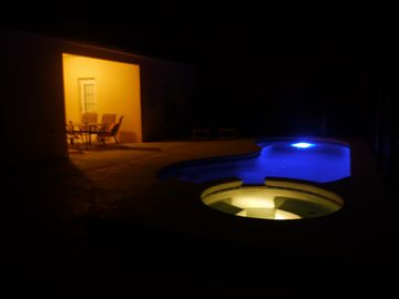 Pool & Spa at night with LED Lights