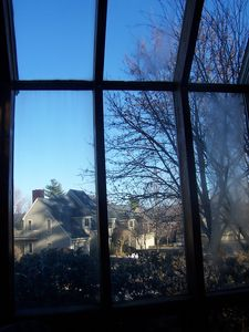 Sunny, winter day outside the solarium