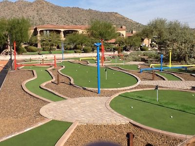 Wow, any other vacation properties have a private 9 hole mini goofy golf course?