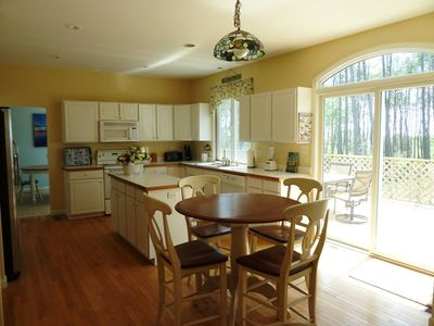 Beautiful kitchen, connected to dining room, family room and huge deck.