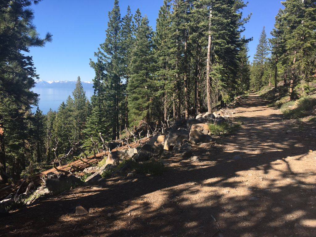 One of the many trails from the house with view of Lake Tahoe