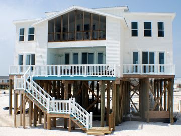 Dauphin Island house rental - Gulf Front on Dauphin Island's West End Beach, This beautiful home is perfect!