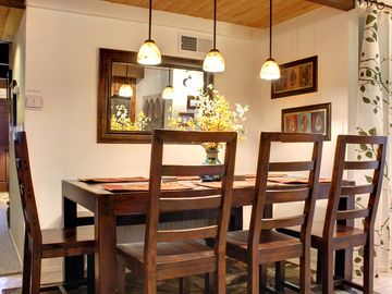 Spacious dining table seats up to 8.