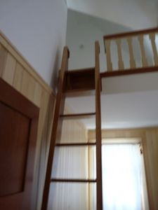 Ladder to children's loft pegged at top for safety in guest bedroom.