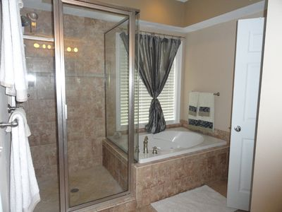 Thomas Drive Area house rental - Master Bath tub and shower