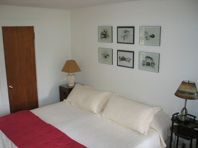 The Sow's Ear, a Franconia Notch Vacations Property - Bedroom #1, enjoys a king size bed and is located on the main floor with a full bath attached.