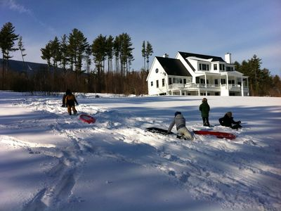 Sledding right on the property!