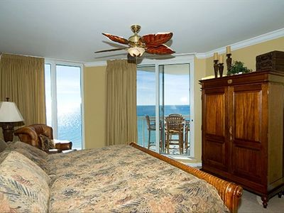 Silver Beach Towers Resort condo rental - Master bedroom with balcony access and spectacular view of gulf.