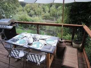 Russian River house photo - Dining on the deck (for 7-8 with extra table & chair)