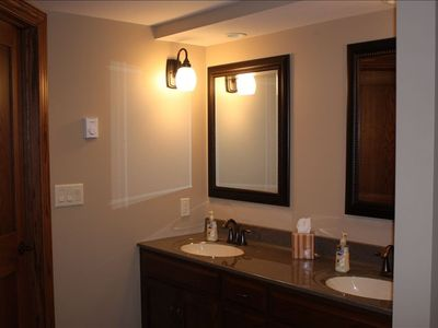 Large downstairs bath - double vanity plus shower