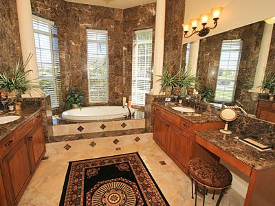Versailles marble bathroom-relax in the roman bath or the walk-in double shower