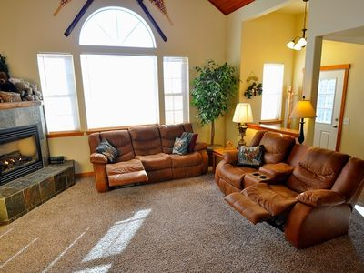 Living Room - Living Room with very comfortable Couches (4 recliners), TV w/Cable, Gas Fireplace.