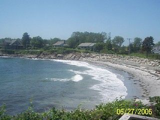 Biddeford house photo - Full view of beach, close to high tide--sheltered cove, no big waves.