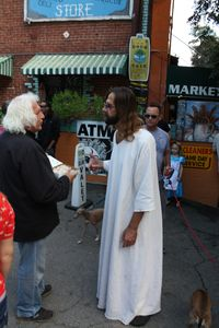 The mysterious Hollywood Jesus outside the Country Store for Canyon Photo Day.