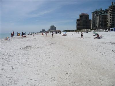 This REALLY is our beach. Wide, white sugar sand.