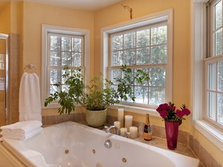 Woodstock house photo - Oversize Jacuzzi tub for two surrounded by windows with forest views