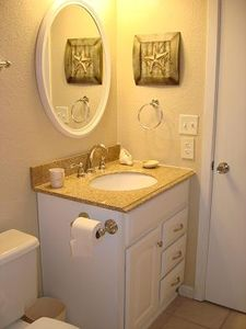 Newly Renovated Bathroom with granite sink