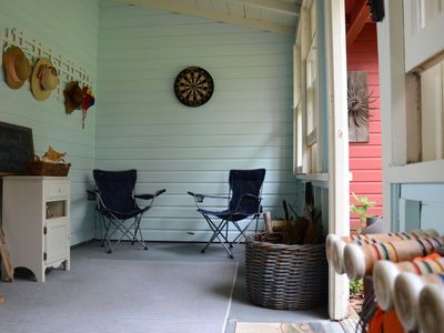 Front Porch to store your gear and play darts