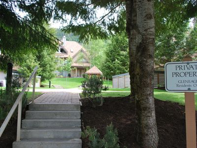 Steps leading from the unit to the paved valley trail & golf course