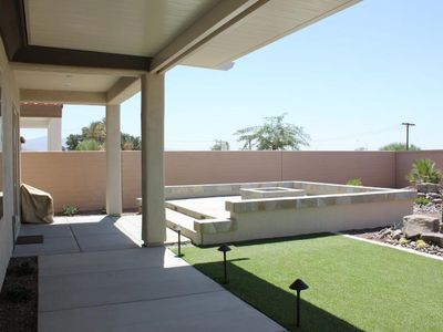 Covered patio, Plus extended viewing patio with fire ring!
