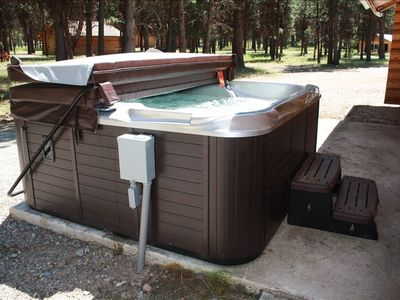 outdoor hot tub, private and hidden.