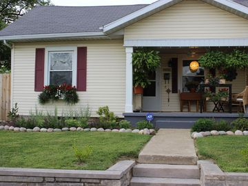 Bloomington bungalow rental - The welcoming front porch is the perfect spot for your morning coffee!
