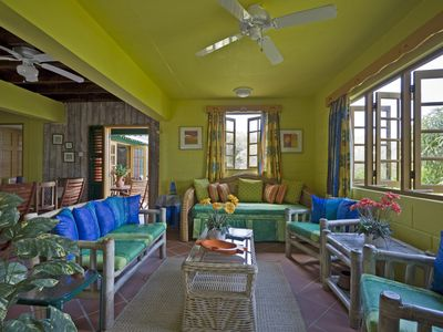 Bequia villa rental - open plan living & dining room with magnificent views.