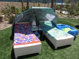 Galveston condo photo - Umbrella and Brookstone outdoor speaker for your use.