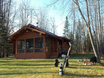 Marcell cabin rental - The view of the cabin from the lake. It is a flat lot and no hills to deal with!