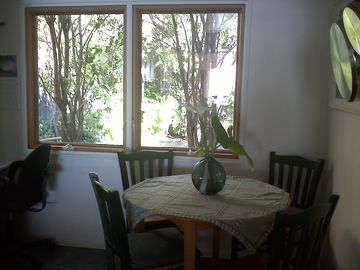 kitchen breakfast nook with garden view