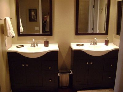 His and Hers Espresso Vanities in Master Bath