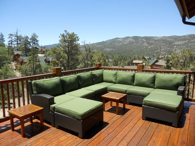 Big Bear Lake cabin rental - Relax in the deep seating sectional overlooking the open Eagle Preserve