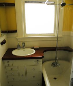 Bathroom with antique clawfoot tub