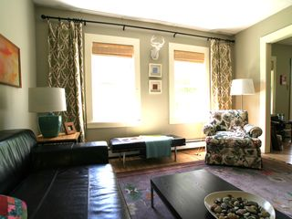 Rochester house photo - Living room- Sunny, leather sofa, oriental rugs, flatscreen, oriental rugs.