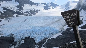 Raven Glacier on Crow Pass trail. Trailhead is less than 1 hour from our home.