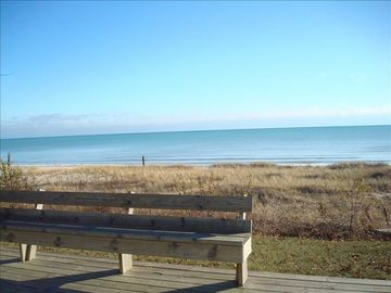 Oostburg cottage rental - View of Lake Michigan from the front deck