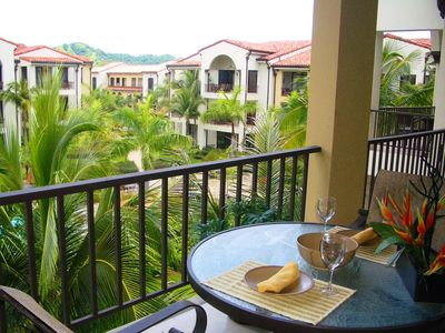 Balcony - Enjoy dining on the balcony overlooking the pool and beautilful grounds of Pacifico.