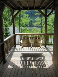 Watauga Lake cabin rental - four porch swings.