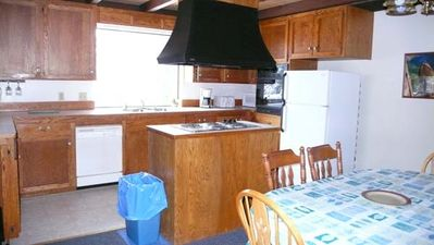 Kitchen, fridge, dishwasher. Nice!  dishes and pots/pans provided