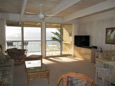 Enjoy the oceanfront location in our comfortable living room