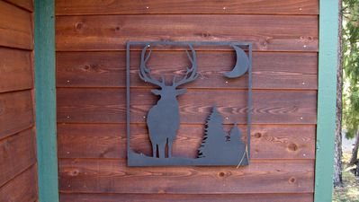 Estes Park cabin rental - Elk Silhouette On West Wall By Front Door