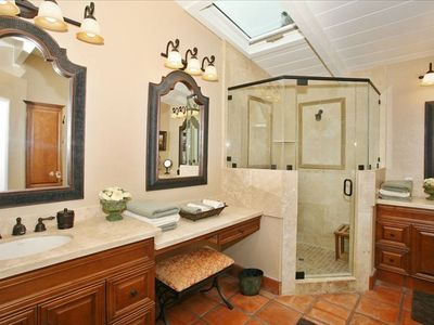 Master Bathroom with His and Hers Sinks, Vanity, and Walk in Closet