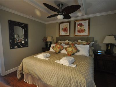 Master bedroom with upgraded Marriott top of the line king bed and pillows