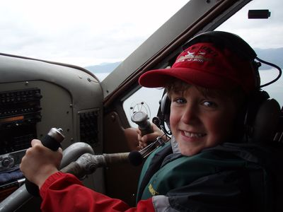 """Copilot"" Mickey at the controls on Carlin Air"