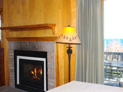 Fireplace and peek at Lake Superior