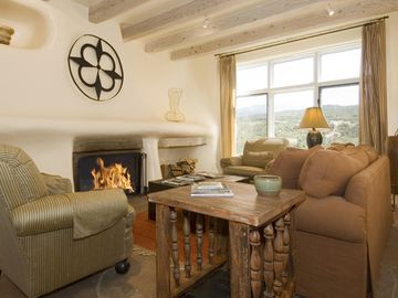 Santa Fe house rental - Living Room w/ Fireplace