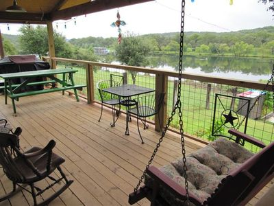 Lake Austin cottage rental - SPECTACULAR VIEW from porch while relaxing in the porch swing