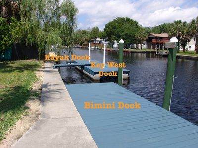 New Kayak Dock, Floating Dock- Key West Suite, and Stationary Dock